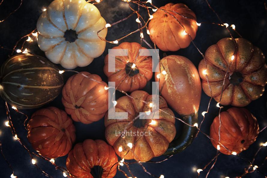 pumpkins and fairy lights