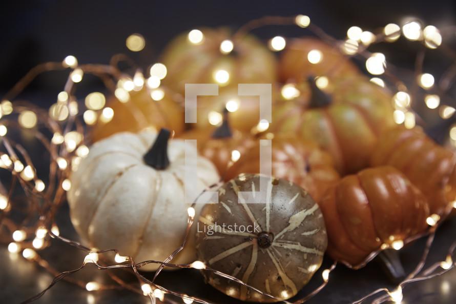 fairy lights and pumpkins