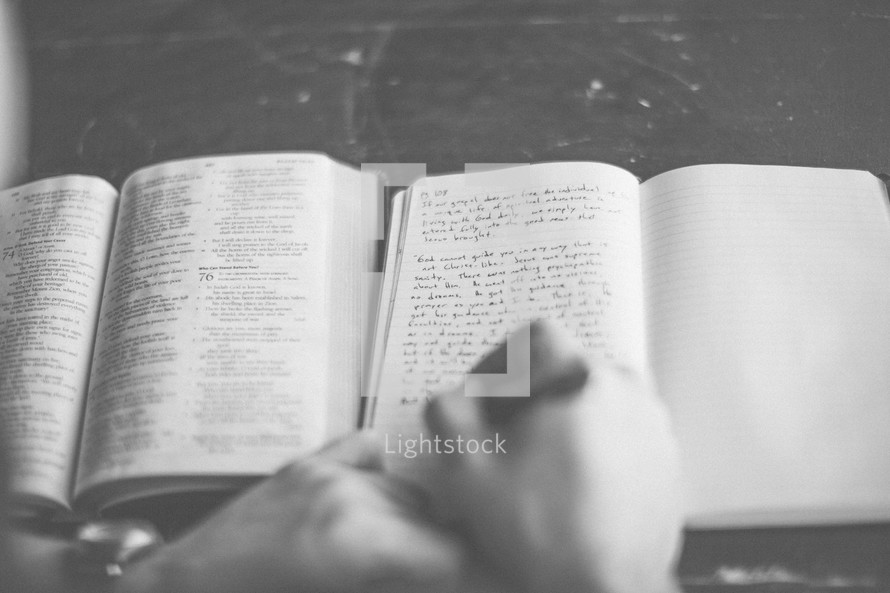 A man taking notes at a Bible study