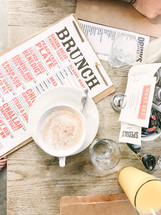 brunch menu and coffee