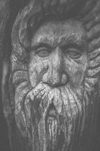 Man's bearded face carved into wood.