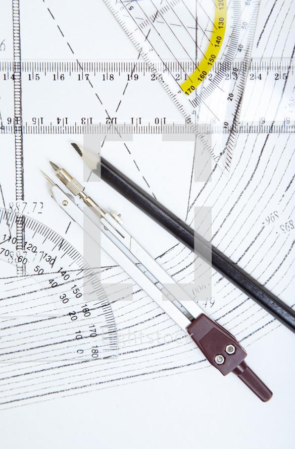 protractor on blueprints