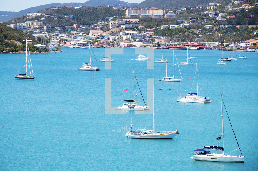 boats in a bay in St Thomas