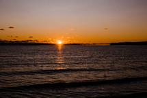 sun setting over Lake Michigan