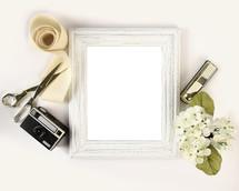 camera, scissors, vintage, blank, frame, sign, ribbon, flowers
