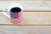 coffee in an American flag coffee mug