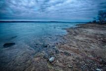 sea glass on a beach shore