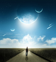 Boy walking down a road with planets and shooting stars in the sky.