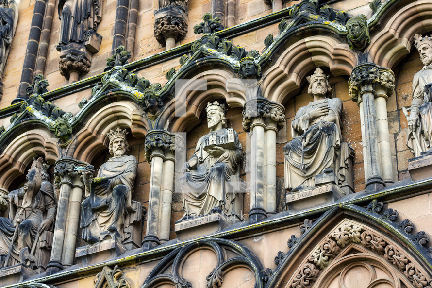 kings carved into a cathedral exterior