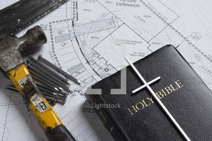 blueprints, hammer, nails, Bible