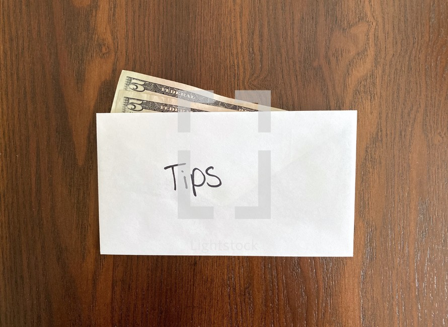 tips - money in an envelope