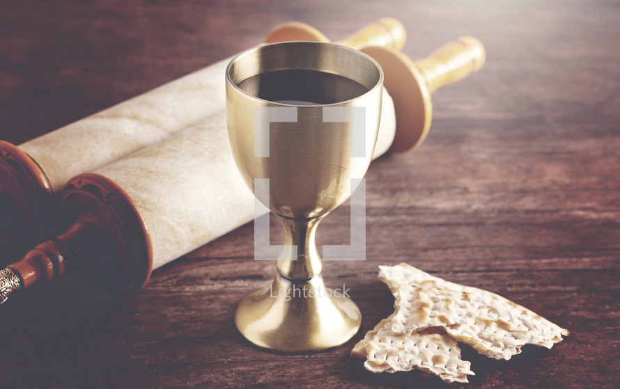 Holy Communion or the Lords Supper Prepared on a Dark Wood Table with an Antique Scroll