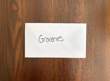 groceries - money in an envelope