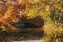 water under a small bridge in the fall