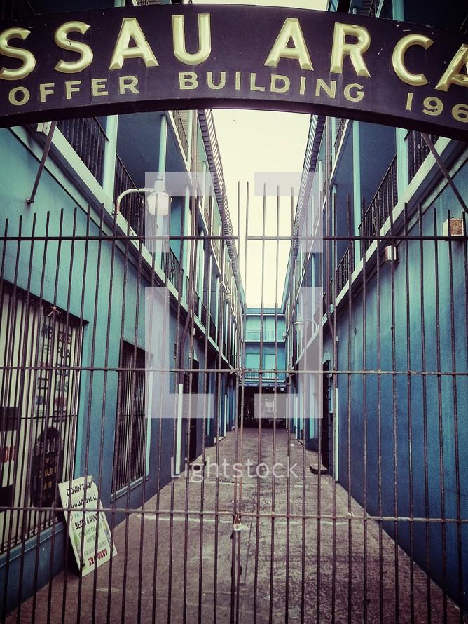 bars on a gate to a Nassau Bahama's arcade