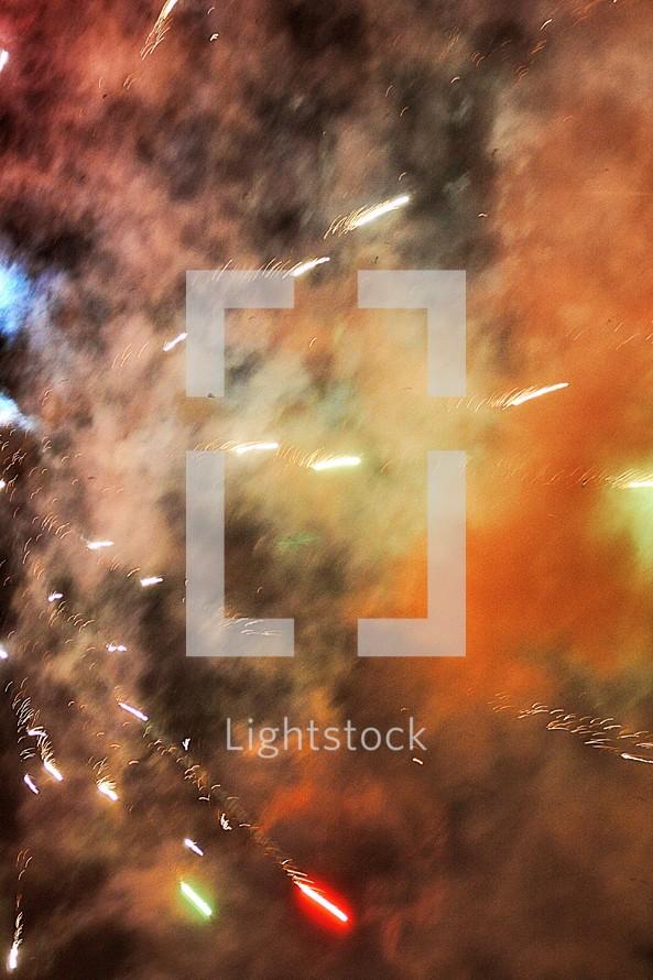 fireworks and smoke