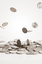 falling silver quarters