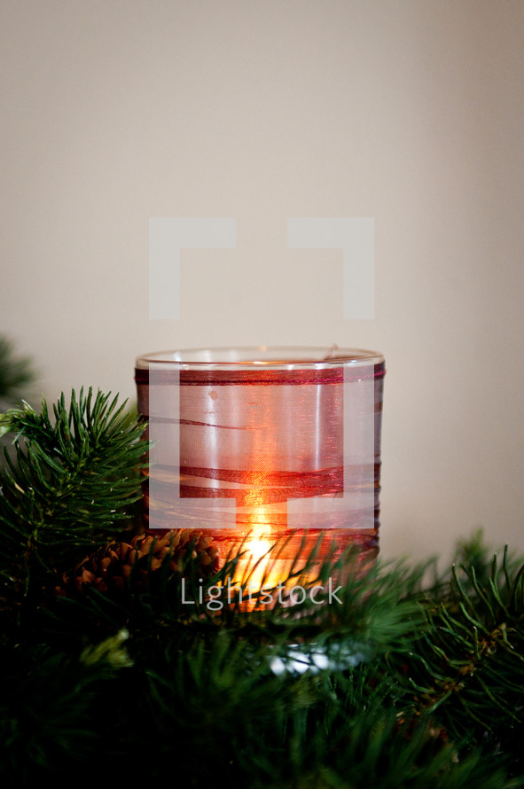 Christmas centerpiece and candle