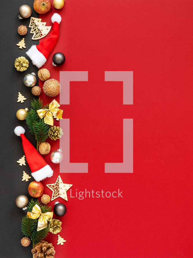 Christmas decorations border on red
