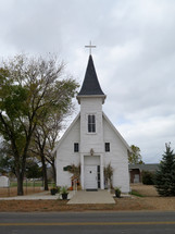 white church with steeple