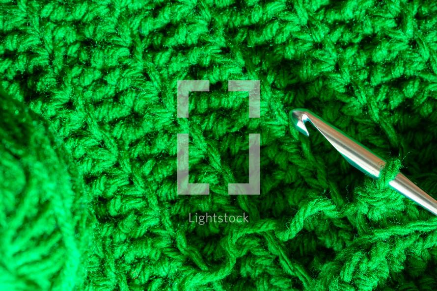 knitting green yarn