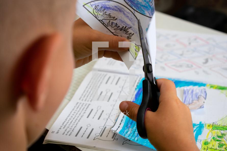 a child doing school work
