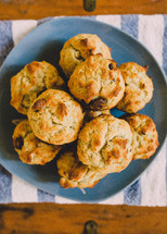 A plate of banana muffins.