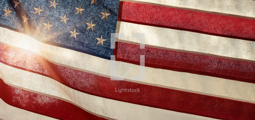 American flag and sunburst
