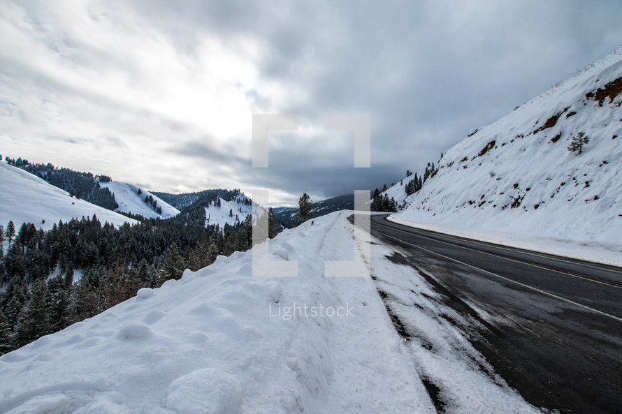 snow on the side of a road