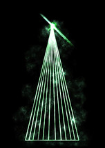 glowing green laser light Christmas tree