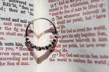 wedding ring between the pages of a Bible