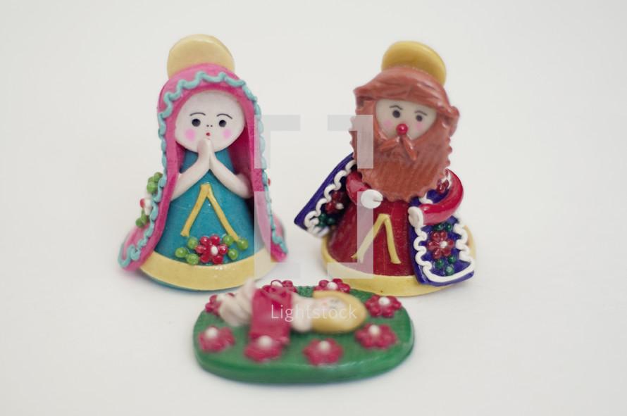 Nativity scene with Clay figurines.