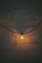 single glowing bulb on a string of lights