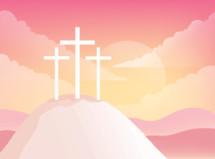 three crosses on a mount
