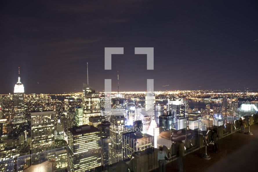 New York City skyline and lights at night