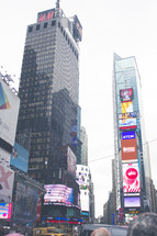 skyscrapers on billboards in Times Square