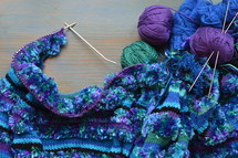 wool and a piece of knitting