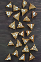 advent cookies on gray wood