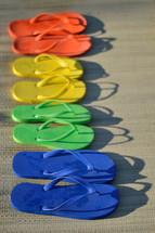 rainbow of flip-flops