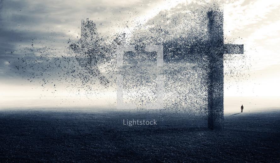 Man walking away from cross as it is blown away.