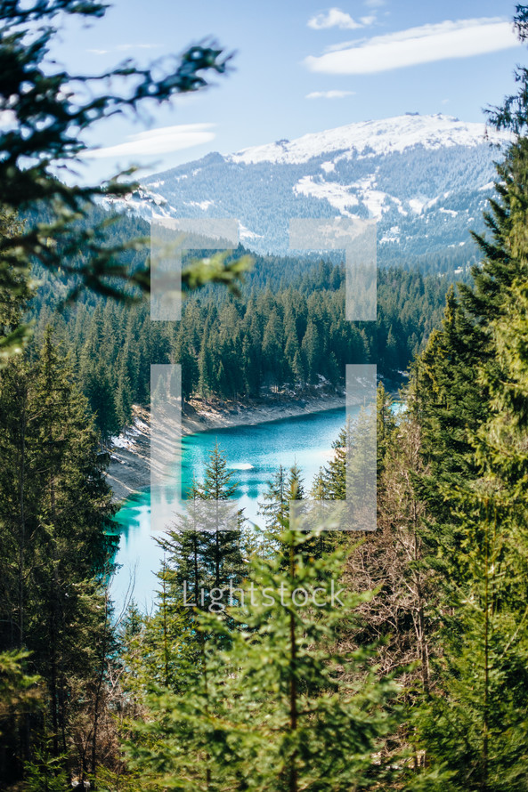 Beautiful lake in the swiss alps