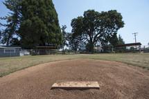 pitchers mound on a baseball field