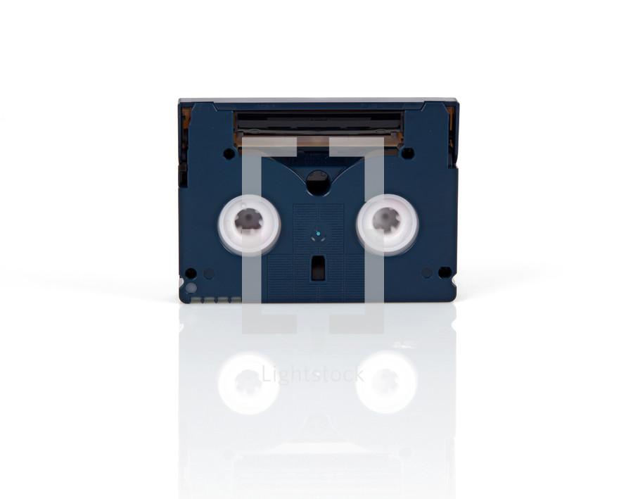 Mini DV cassette isolated on white background