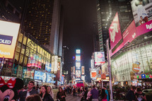 Crowd in Times Square at night