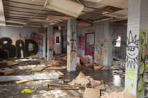 graffiti in an abandoned building