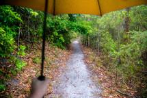 walking under an umbrella on a trail