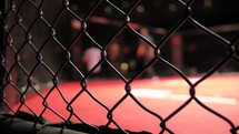 MMA - Cage Close Up with Fighter Entering Cage In The Background