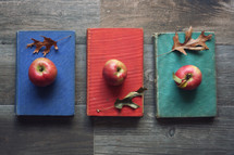 vintage books with apples