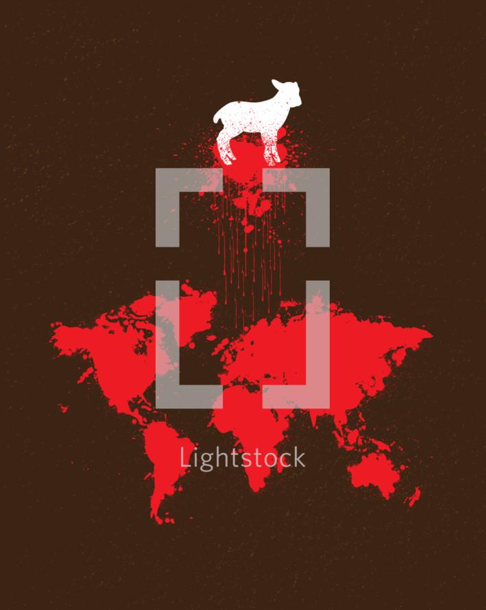 lamb, Lamb of God, Jesus, Blood Shed, Sacrifice, icon, World map, map, Salvation, Redemption, red, Splatter