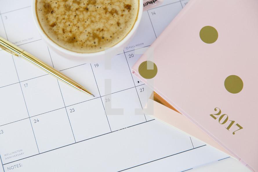 calendar, 2017 planner, latte, mug, pen